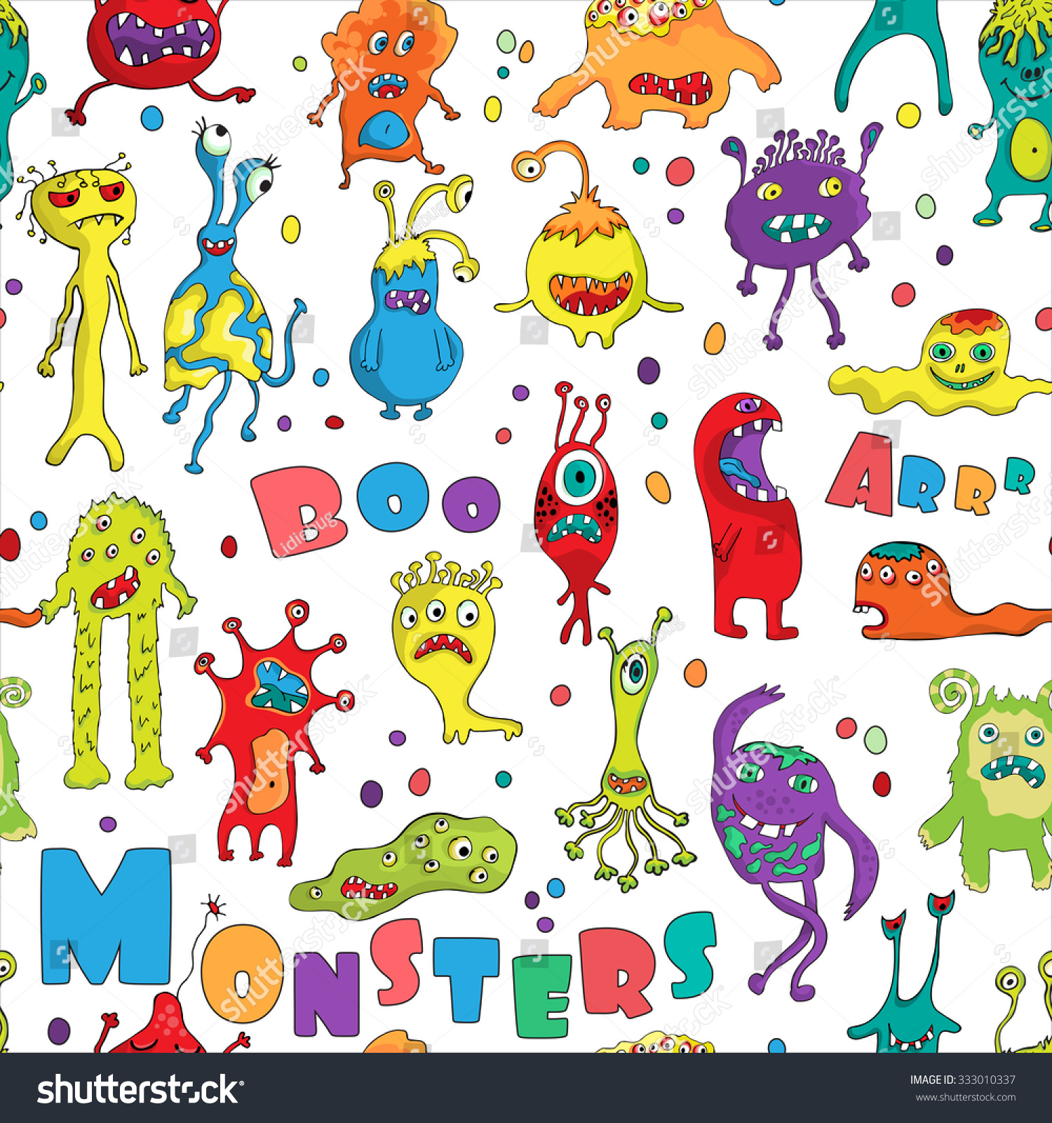 Monster seamless pattern hand drawn design for halloween for Baby monster fabric