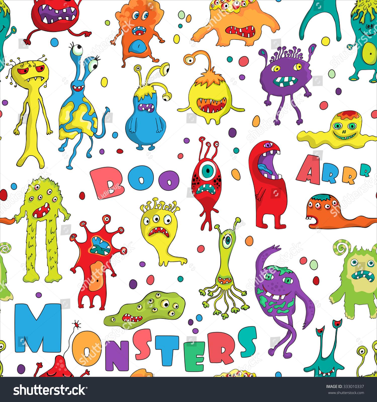 Monster Seamless Pattern Hand Drawn Design Stock Vector