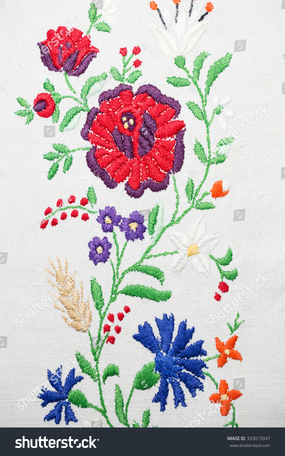 traditional embroidery Traditional embroidery of the slavs - the rectangular shape of the fabric indicates a life's journey and the ornamentation captures the cultural ancestral memory of the region.