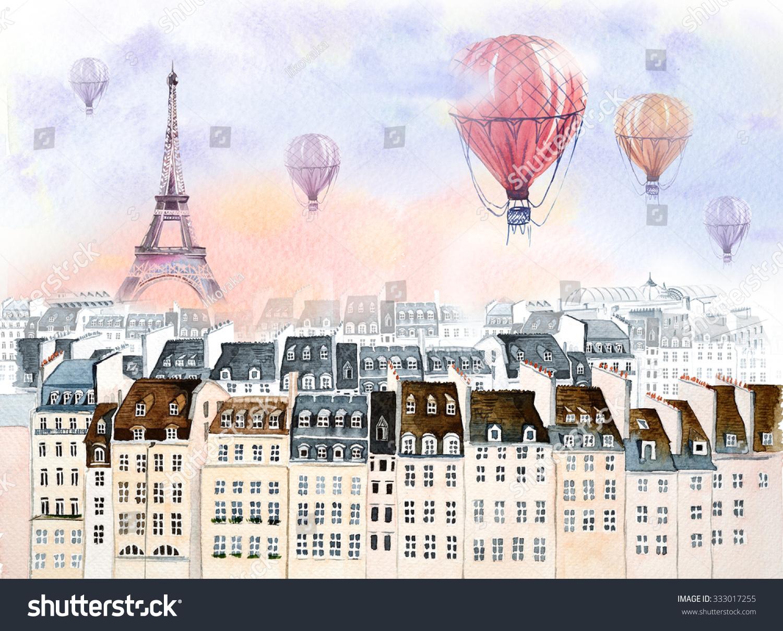 Paris Hot Air Balloon Stock Illustration 333017255 - Shutterstock