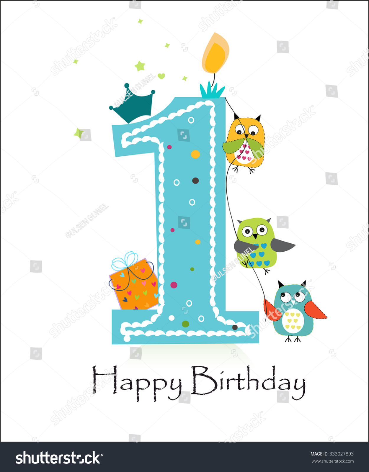 Happy First Birthday With Owls Baby Boy Greeting Card Vector