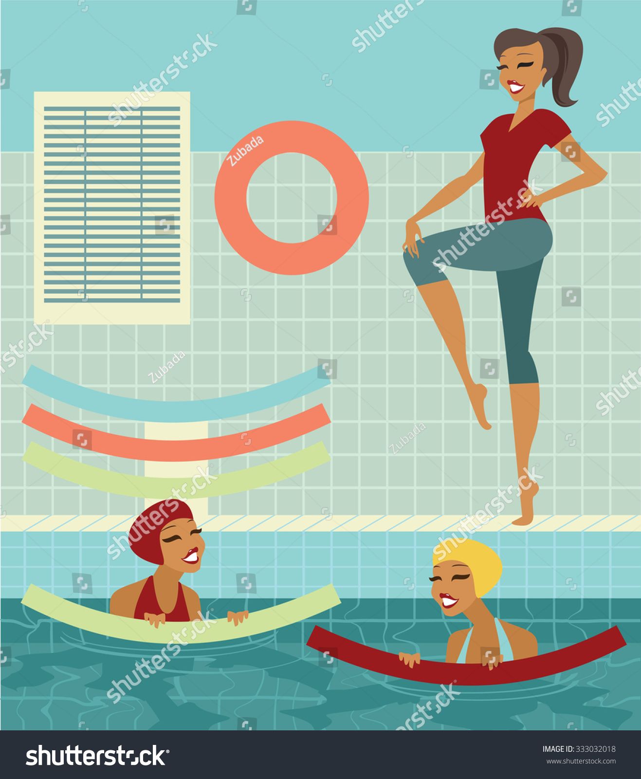 Group Of Women With Swim Noodles In A Swimming Pool Doing Exercises With Instructor Stock Vector
