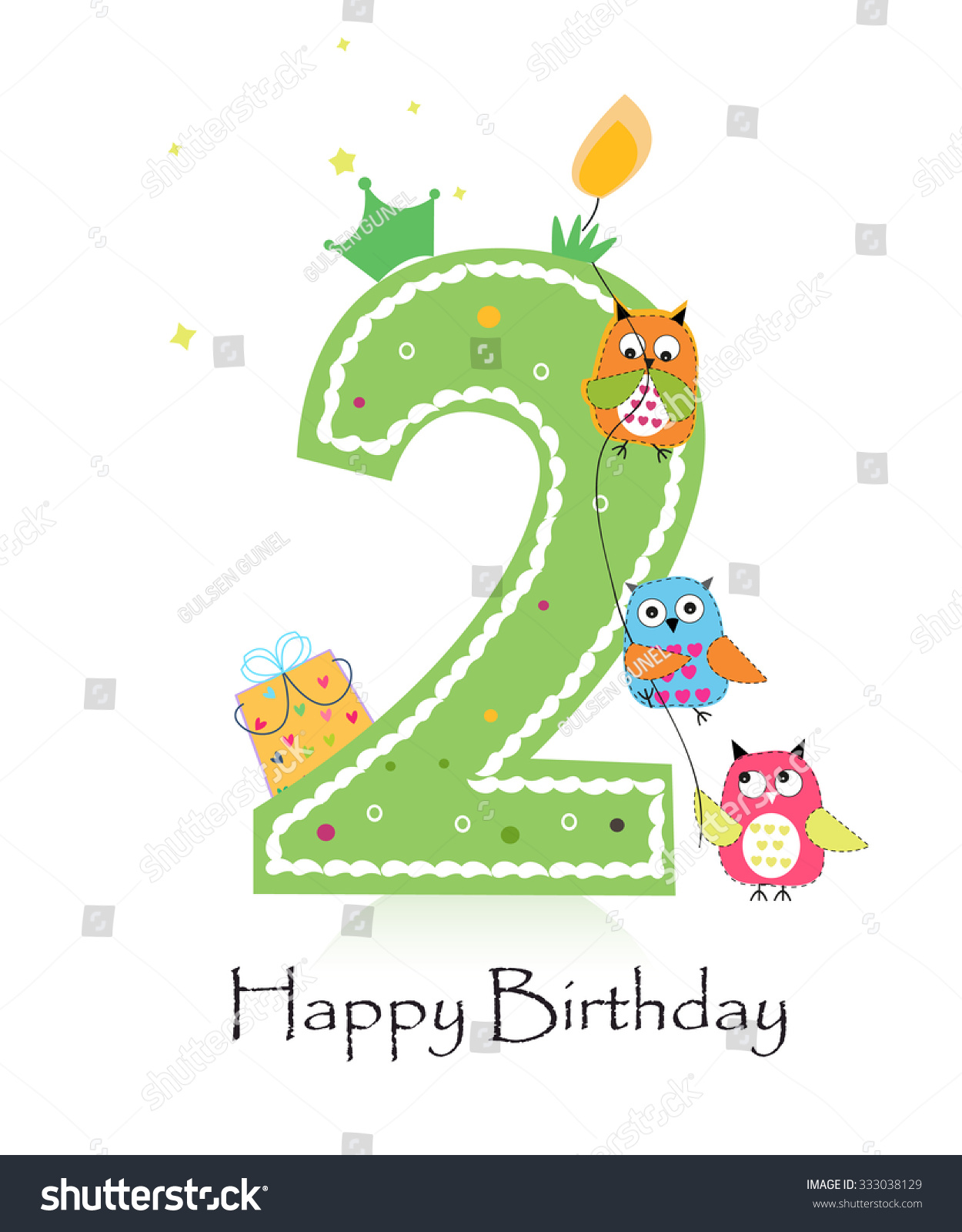 Happy Second Birthday Candle Owls Baby Vector 333038129 – Second Birthday Cards