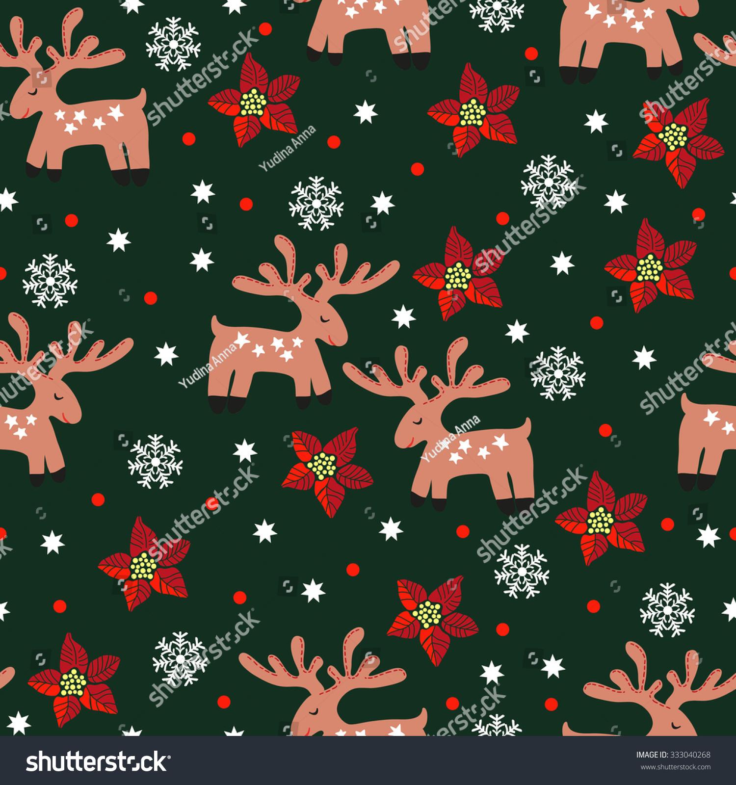 Seamless Funny Christmas Deer Hand Drawing Stock Vector (Royalty ...