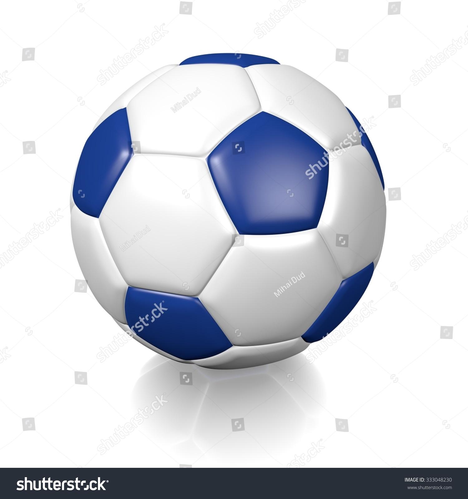 3 D White Football Soccer Ball Blue Stock Illustration 333048230 ...