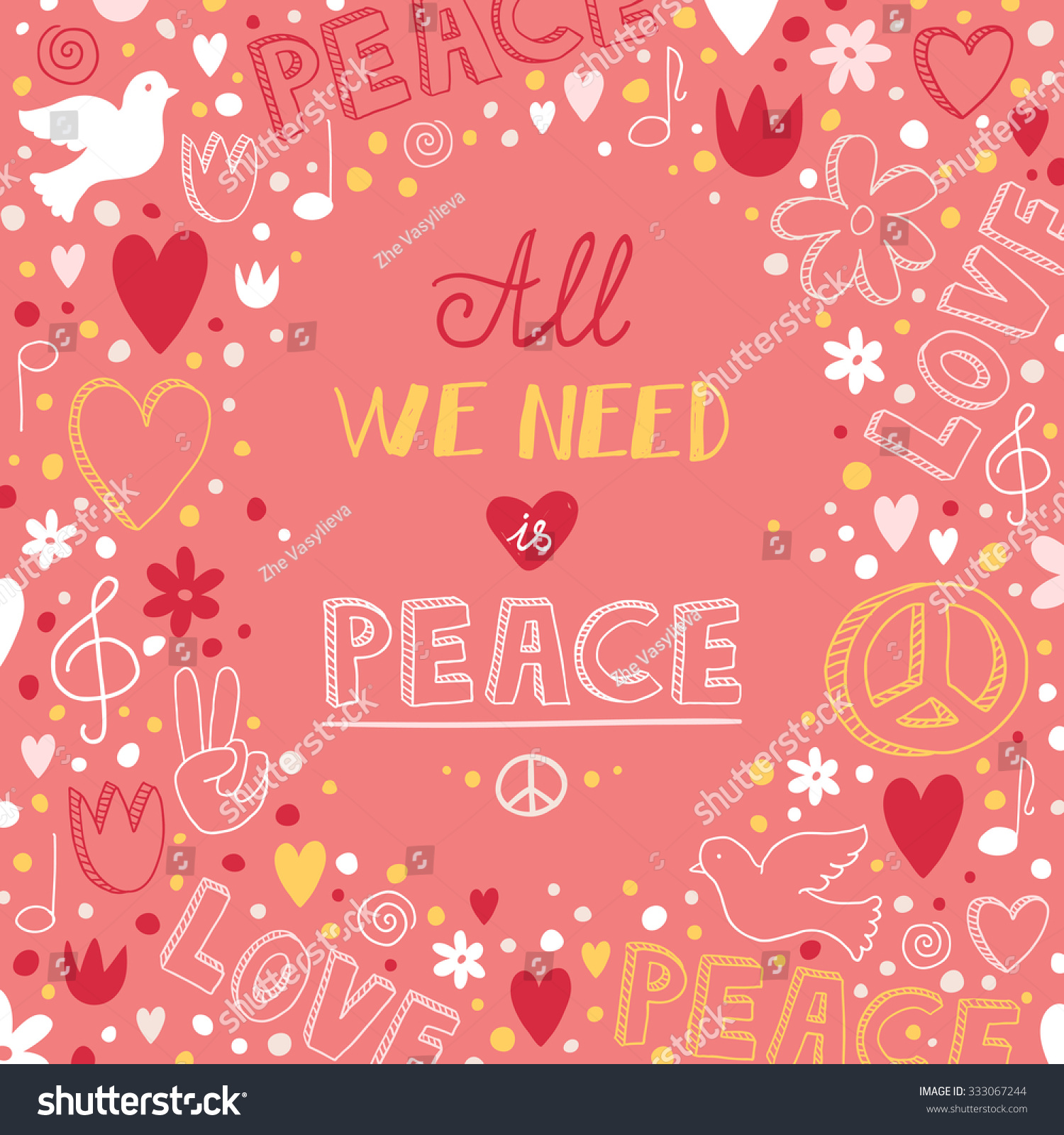 Quote About Peace And Love Vector Doodle Pink Love Peace Theme Stock Vector 333067244