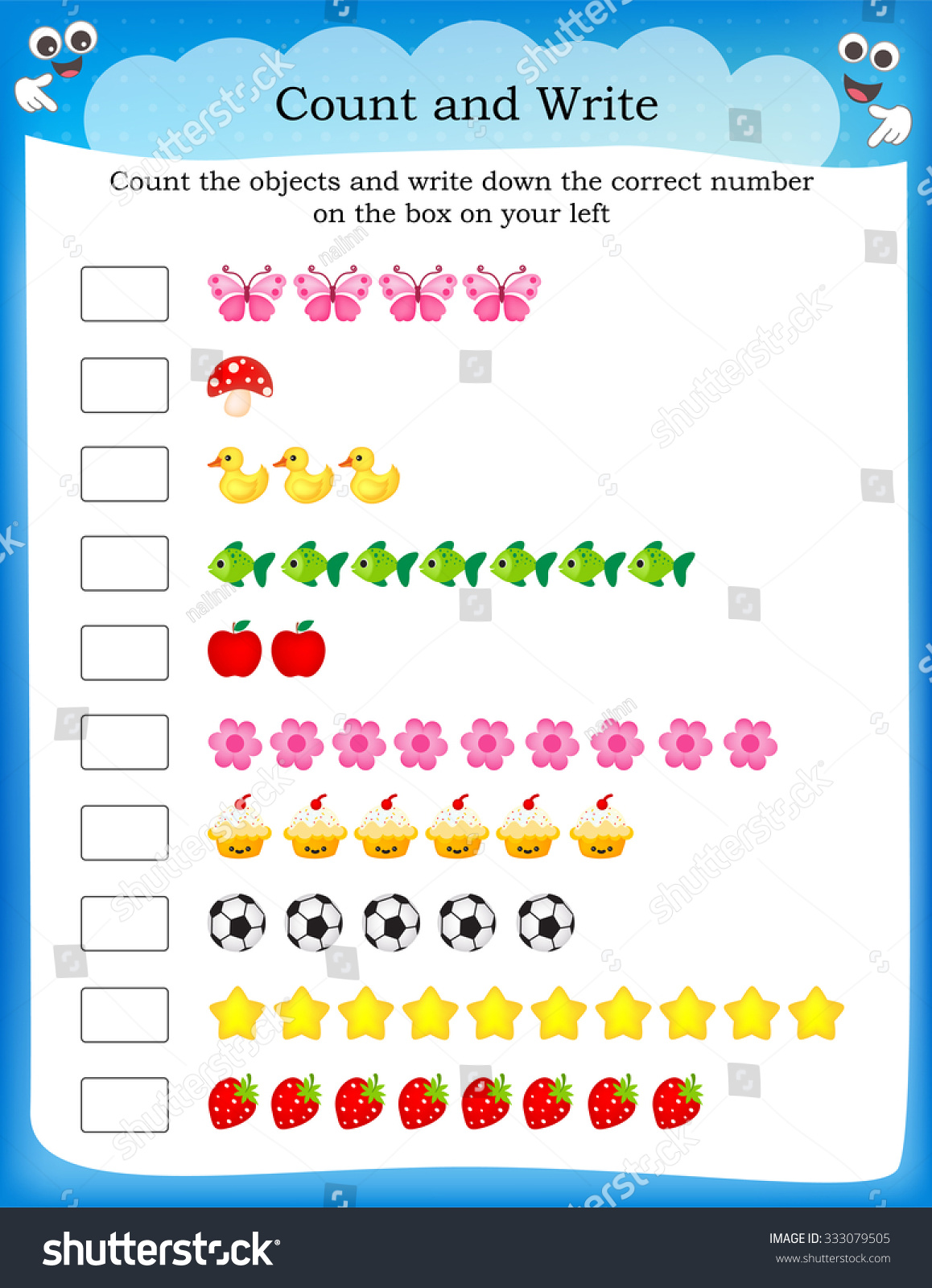 Kids Worksheet Counting Exercises Count Write Stock ...
