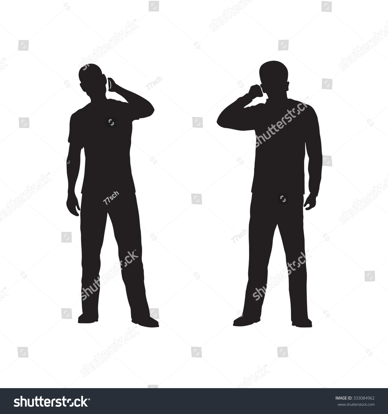 Black Silhouette Person Phone Stock Vector 333084962 - Shutterstock
