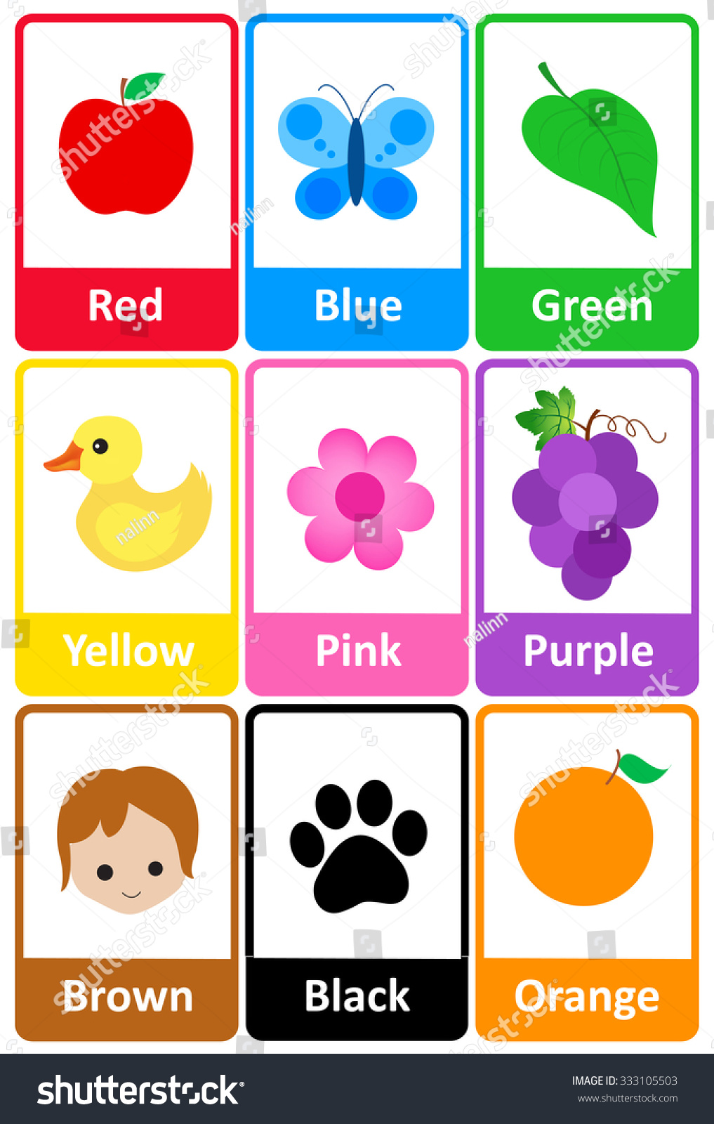 Printable flash card colletion for colors and their names with ...