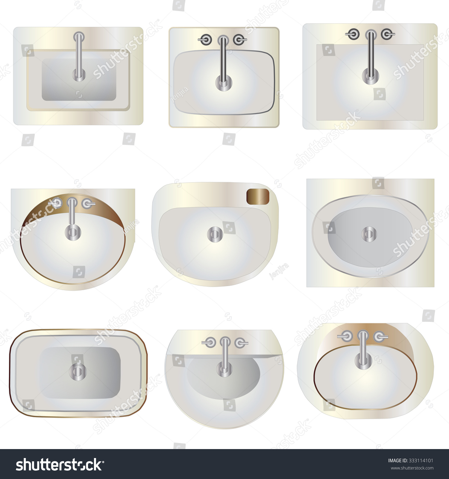 Bathroom sink top view - Bathroom Wash Basin Set 9 Top View For Interior Vector Illustration