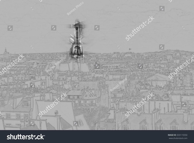 eiffel tower cityscape paris painting travel stock illustration