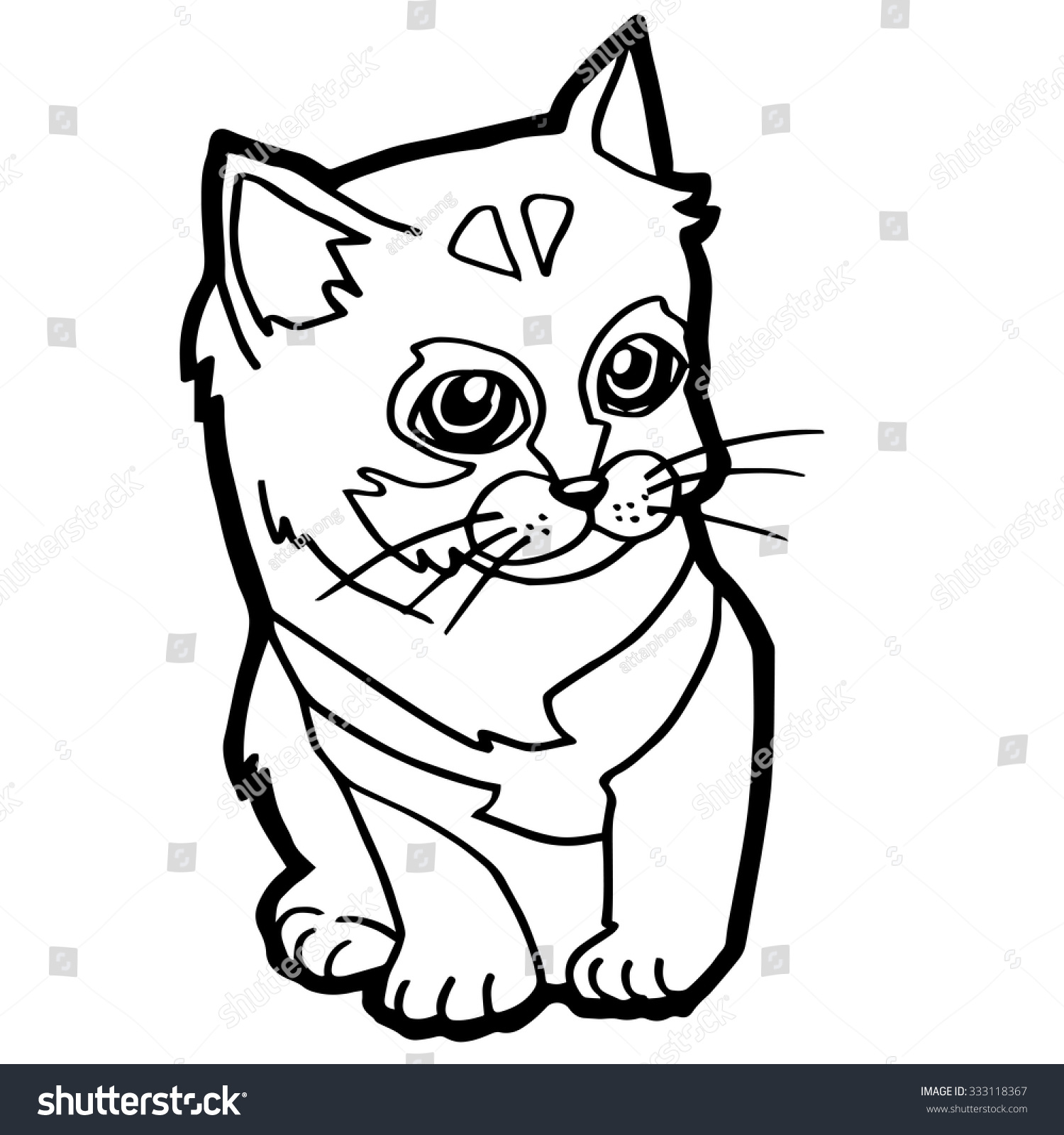 cat coloring page kid stock vector 333118367 shutterstock