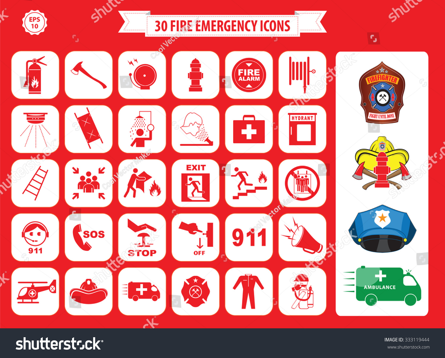 Assembly Icon: Set Fire Emergency Icons Fire Exit Stock Vector 333119444
