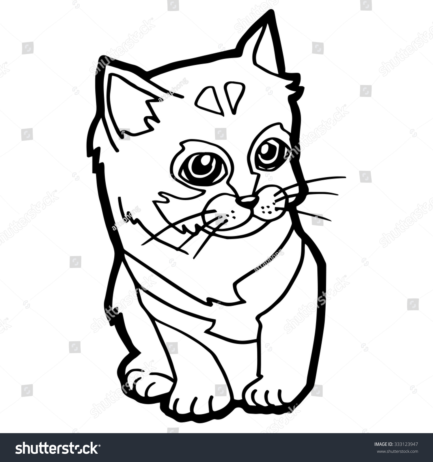 cat coloring page isolated on white stock vector 333123947