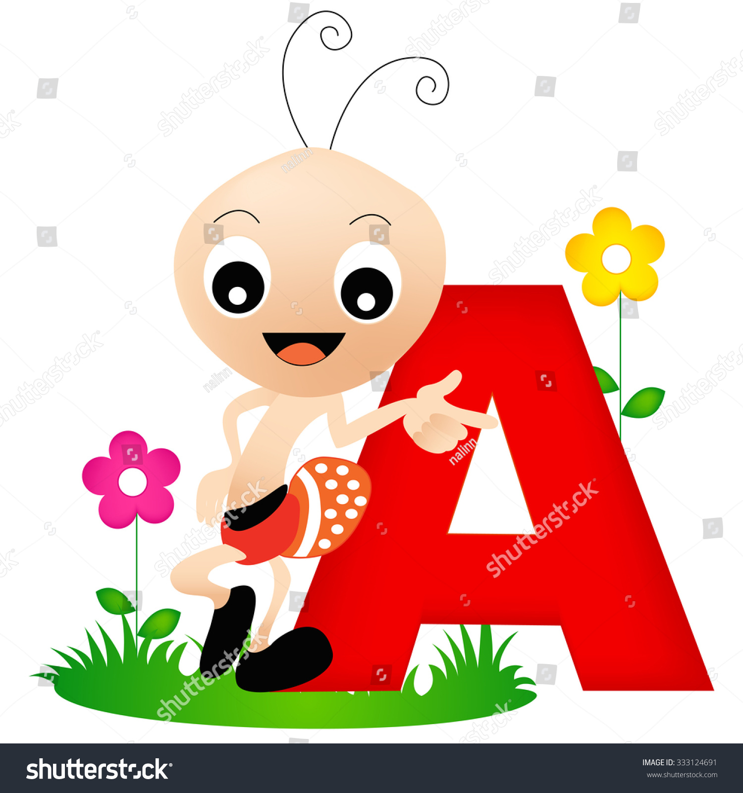 Cartoon Characters Letter Z : Colorful animal alphabet letter cute ant stock