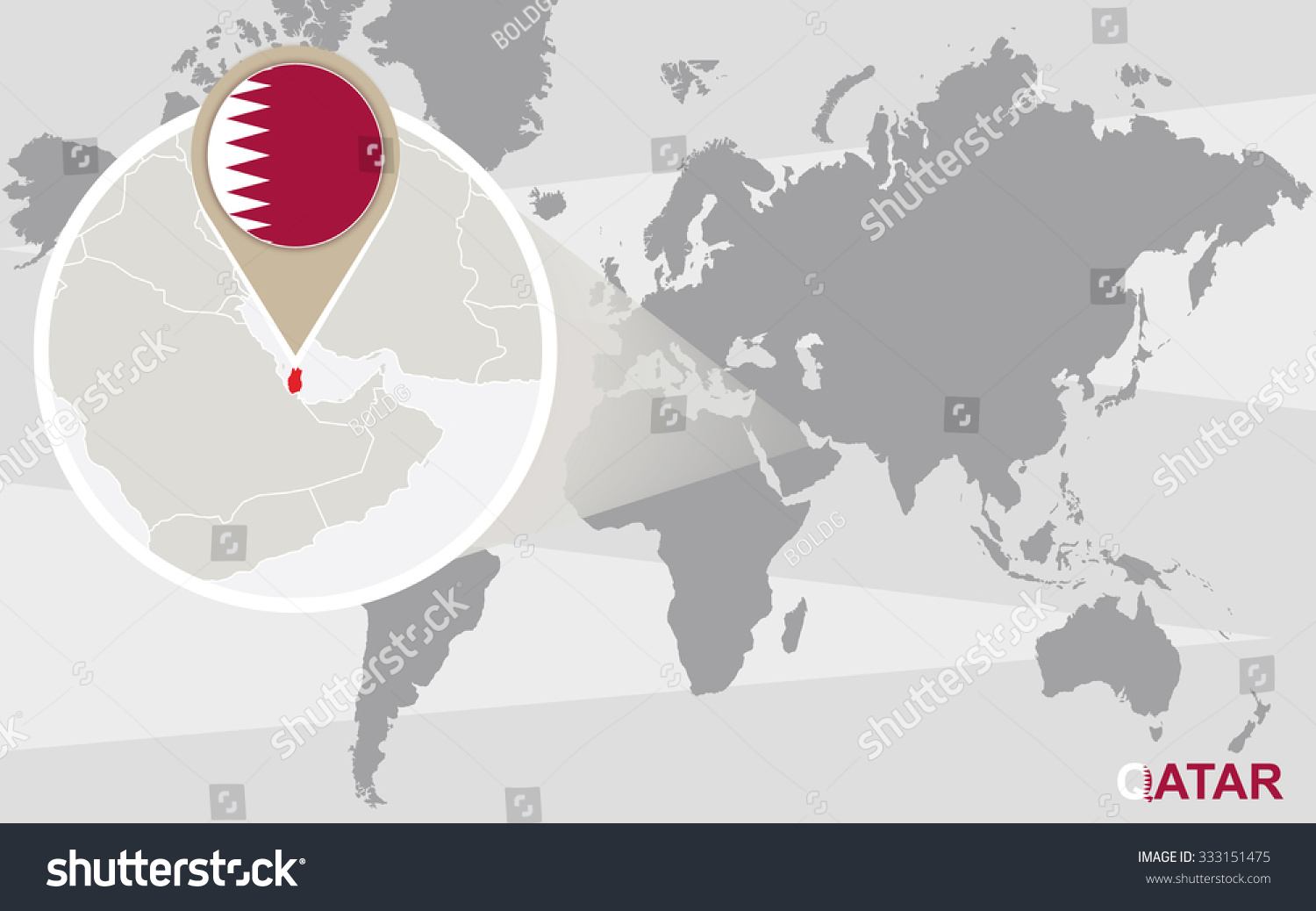 world map with magnified qatar qatar flag and map rasterized copy