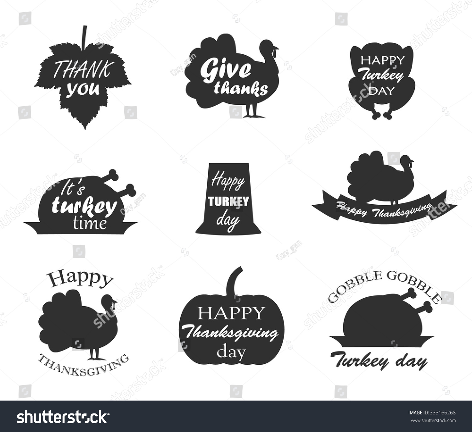 Collection Thanksgiving Day Symbols Lettering Happy Stock Vector