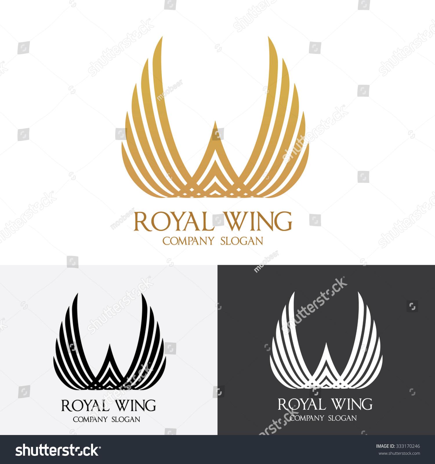 royal wing wing logo royal logo vector logo template 333170246 shutterstock. Black Bedroom Furniture Sets. Home Design Ideas