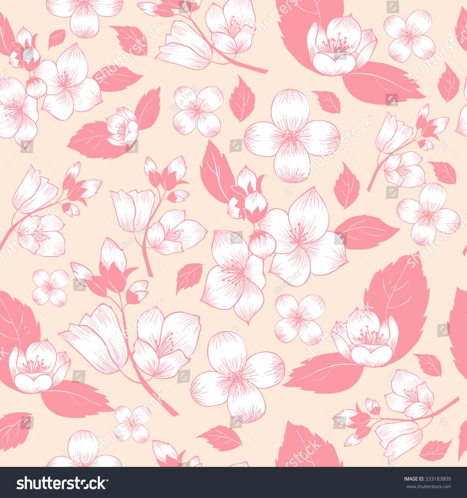 Pink White Jasmine Flower On Beige Stock Vector Royalty Free