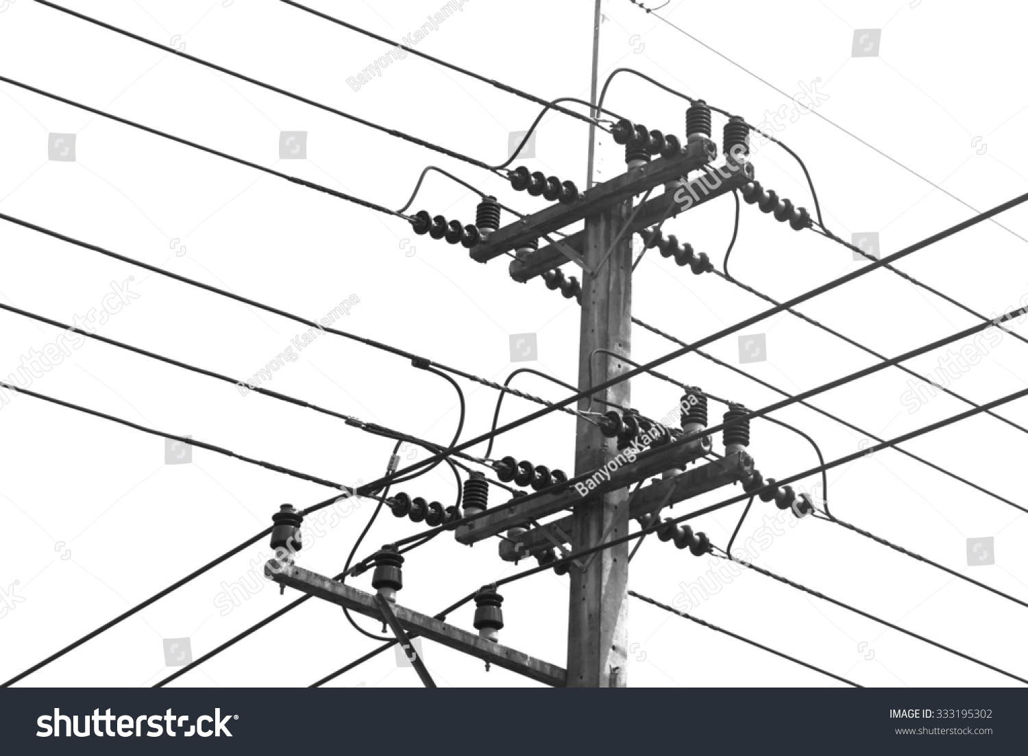 Electric pole wires black and white on white background. | EZ Canvas