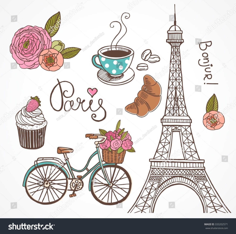 Paris Illustration: Paris Illustration Set Design Scrapbook Vector Stock