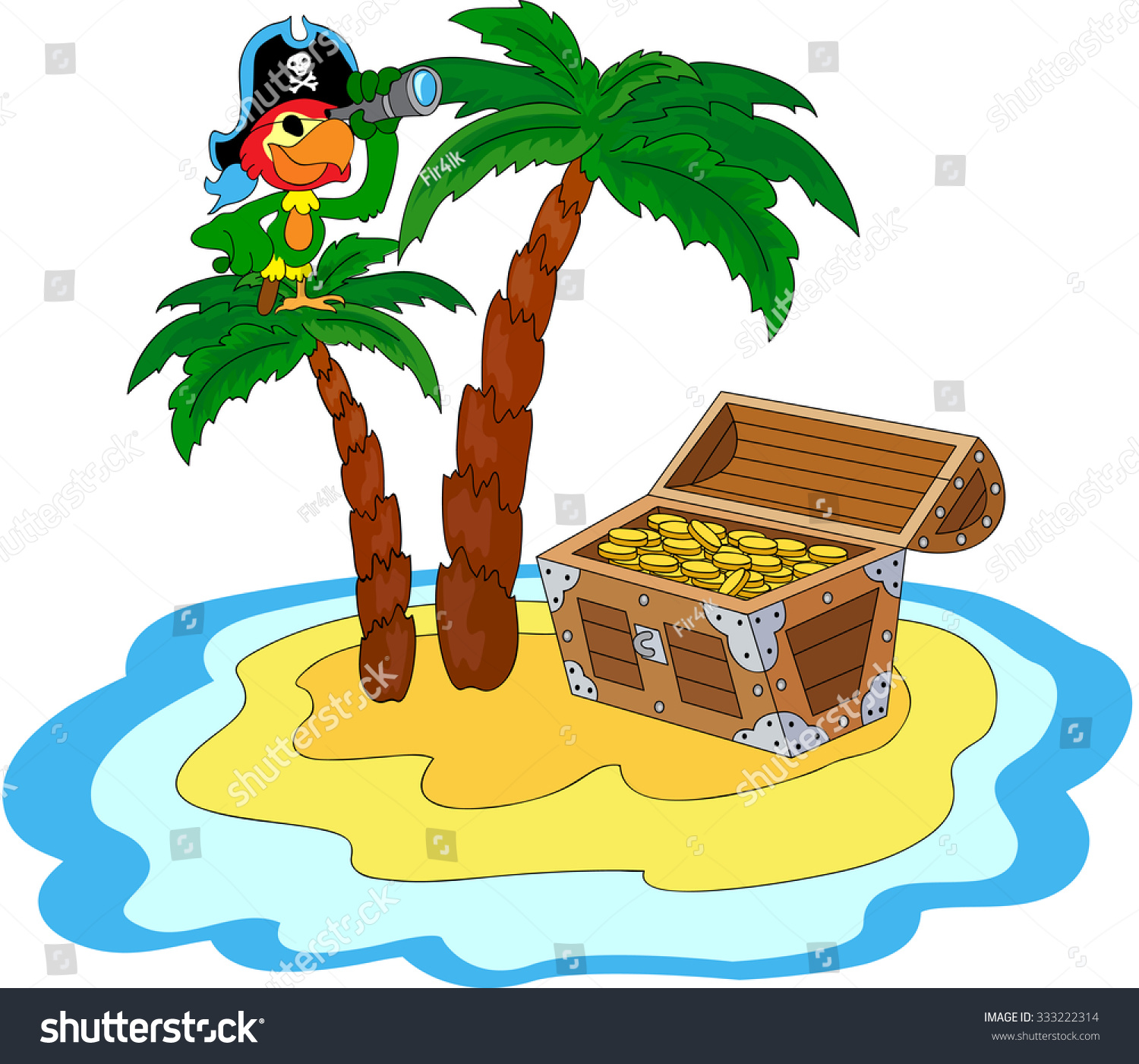 Treasure Chest, Pirate Parrot And Palms On The Island ...