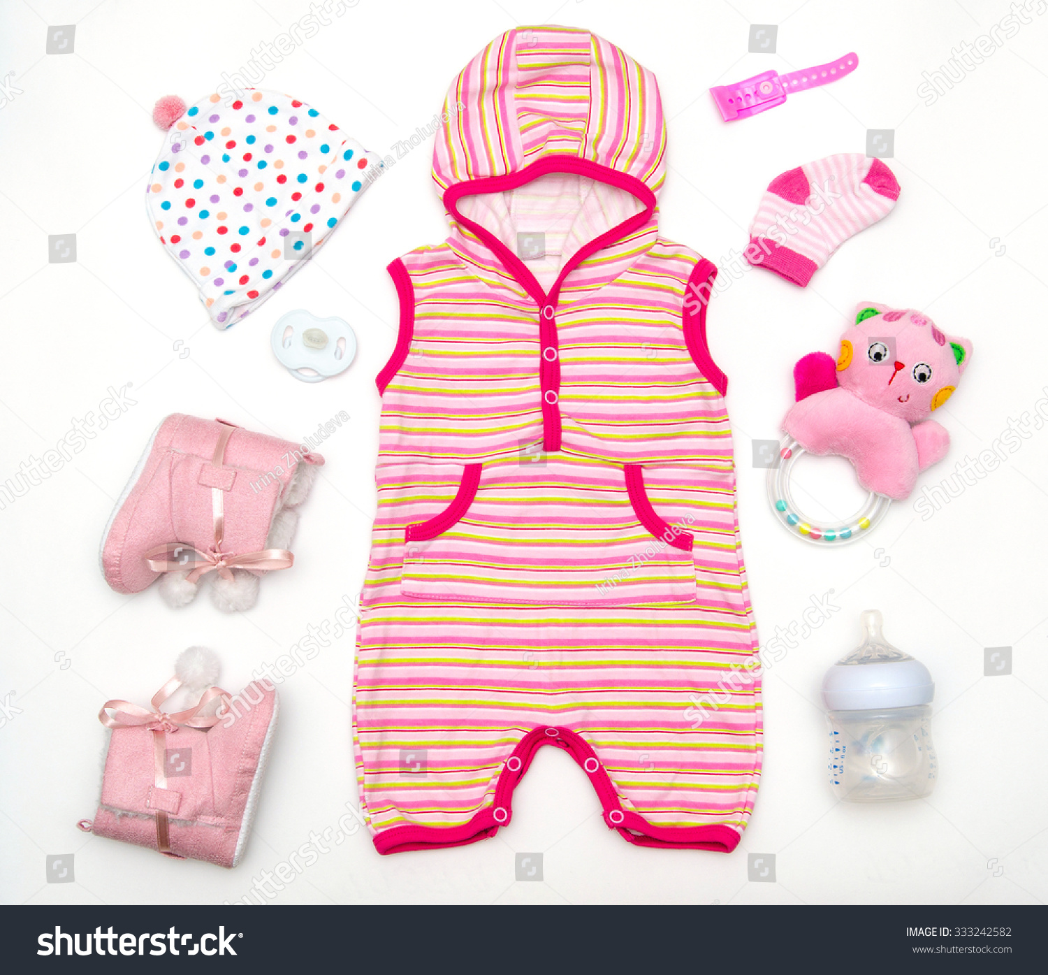 Top View Baby Girl Clothes Toy Stock Shutterstock