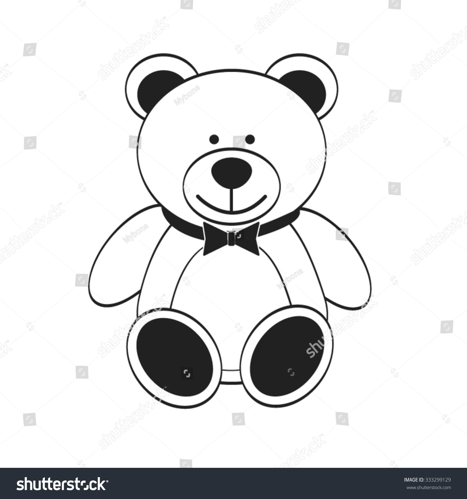 Black White Teddy Bear Isolate On Stock Vector 333299129 ...