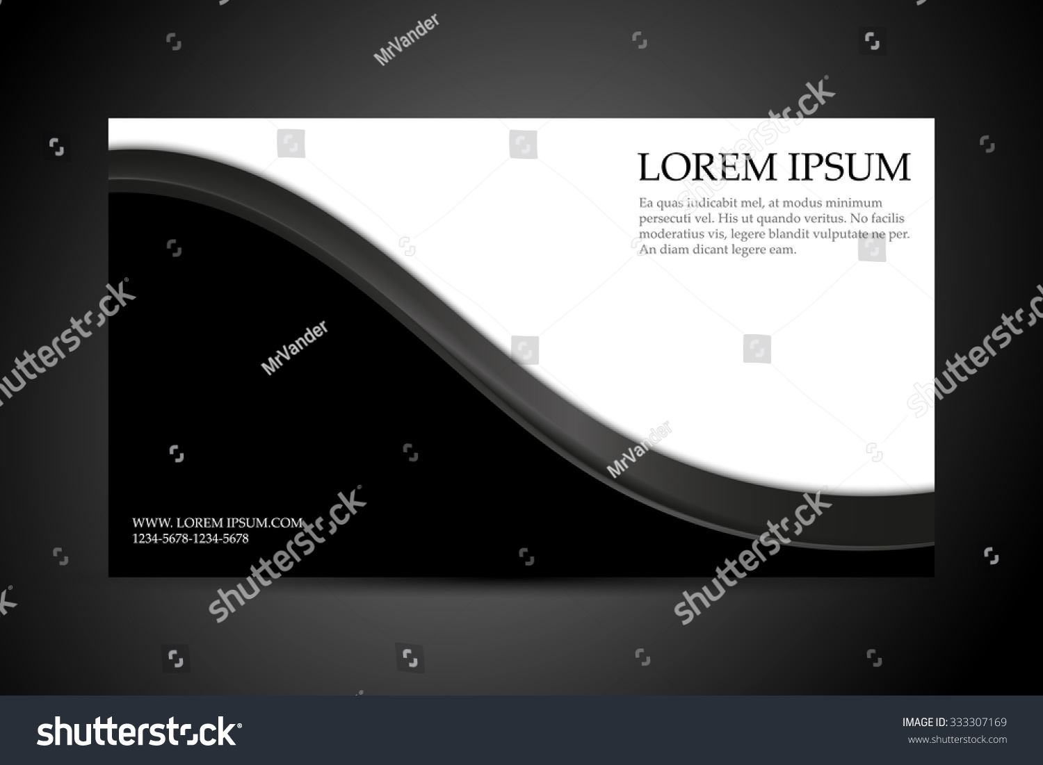 Business Card Template Black White Background Stock Vector 333307169 ...