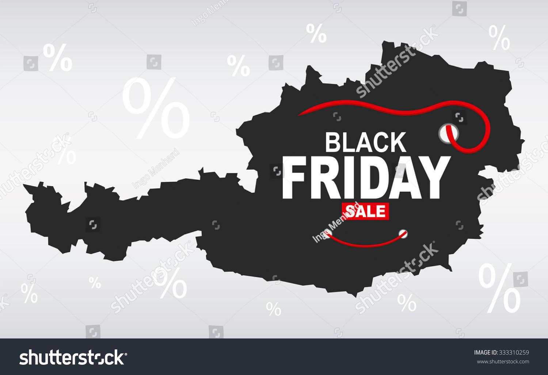 Black Friday Map Austria Stock Vector Royalty Free 333310259