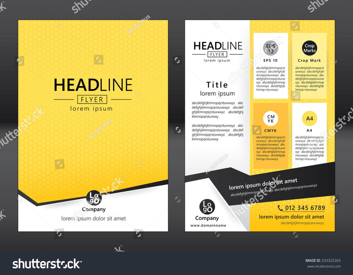 Brochure template design geometric pattern square stock for Graphic design brochure templates