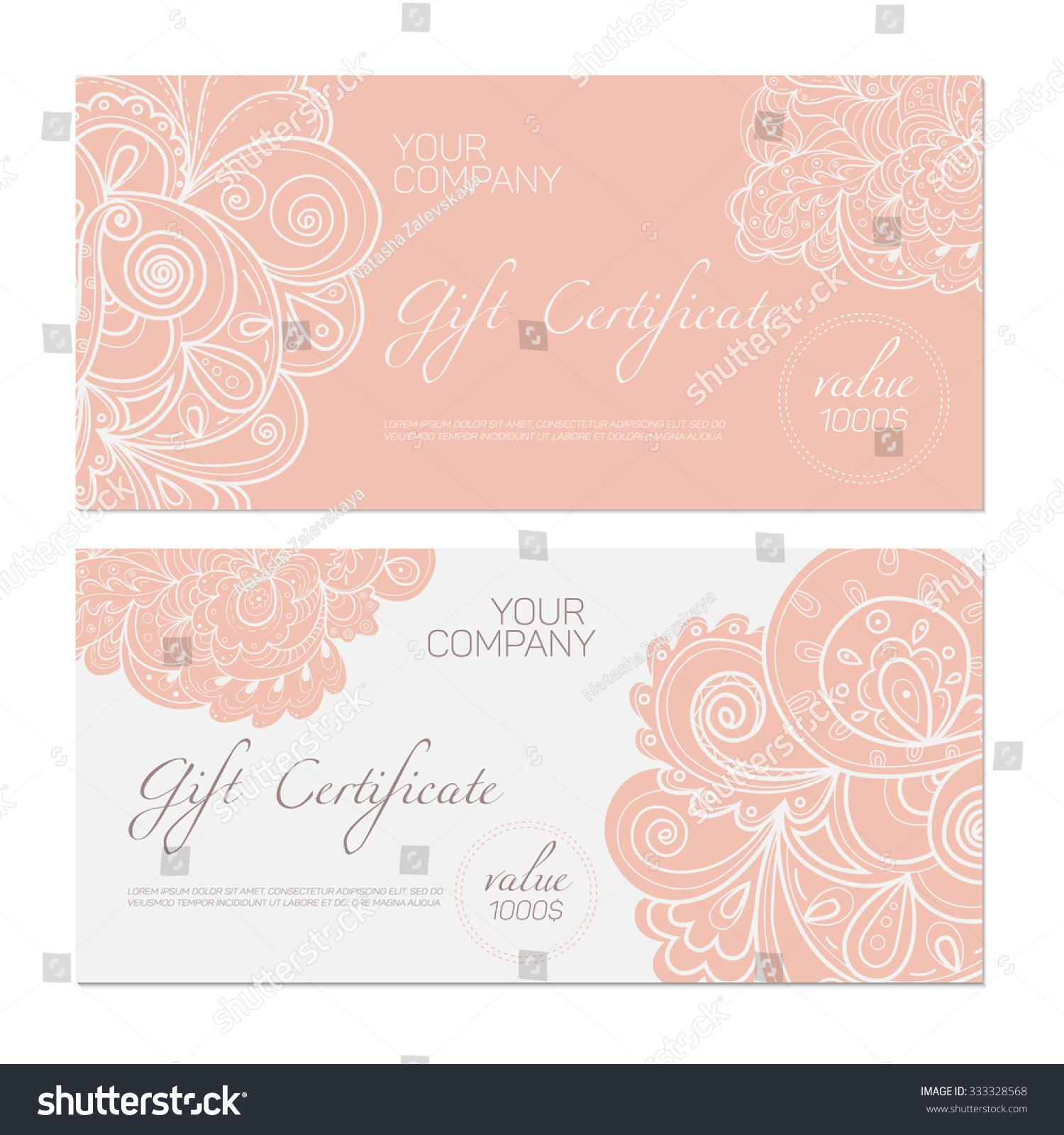 Elegant Gift Certificate Template Abstract Ornamental Stock Vector ...