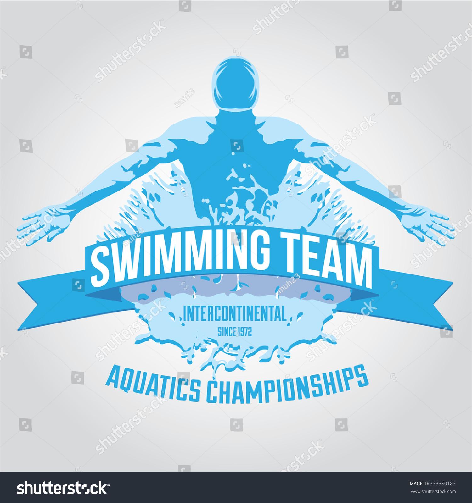 premium logo swimmer swimming butterfly stroke stock