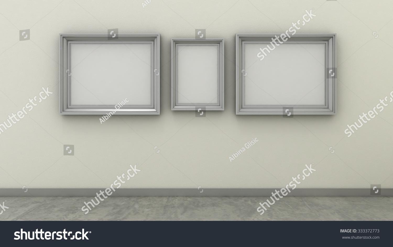 Empty Picture Frames Modern Interior Background Stock Illustration ...