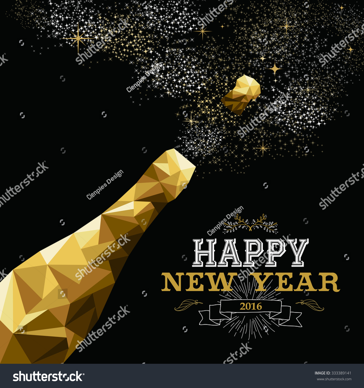 Happy new year 2016 fancy gold champagne bottle in hipster triangle low poly style Ideal for greeting card or elegant holiday party invitation EPS10 vector