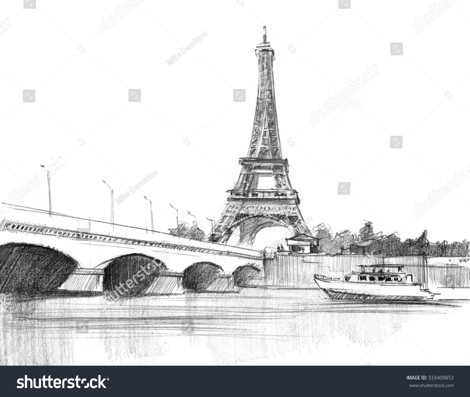 Pencil drawing of the cathedral of eiffel tower in paris against bridge
