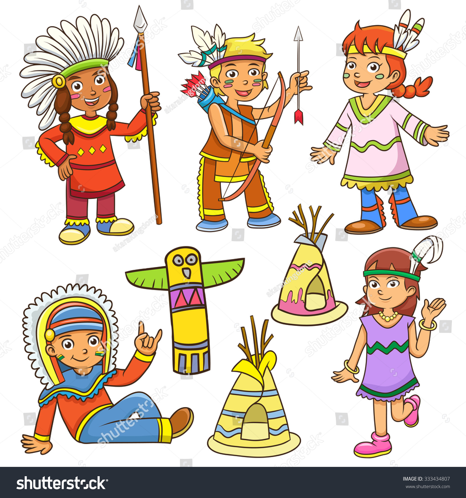 Illustration Red Indian Cartooneps10 File Simple Stock Vector ...