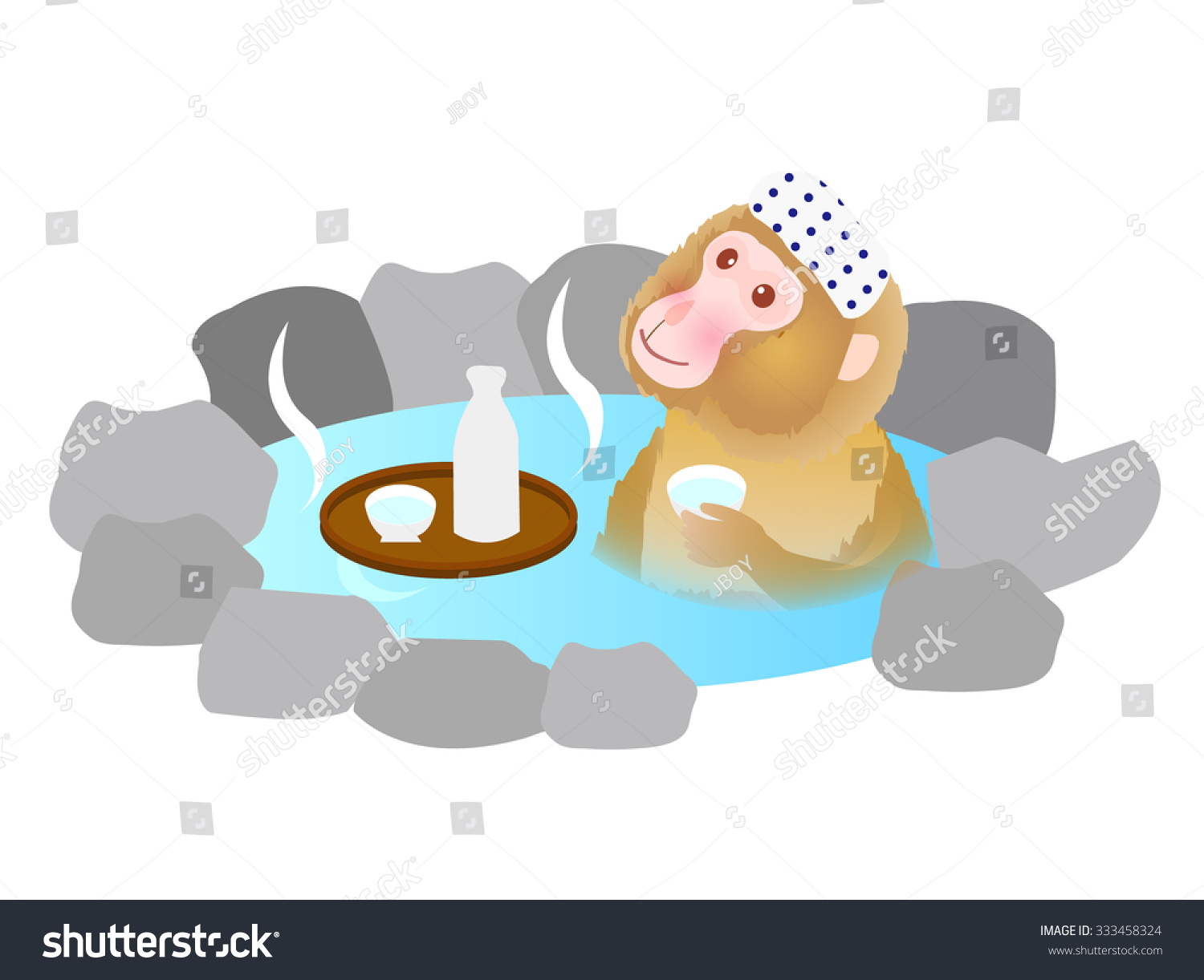 Cute Monkey Hot Spring Greeting Cards Stock Vector 333458324