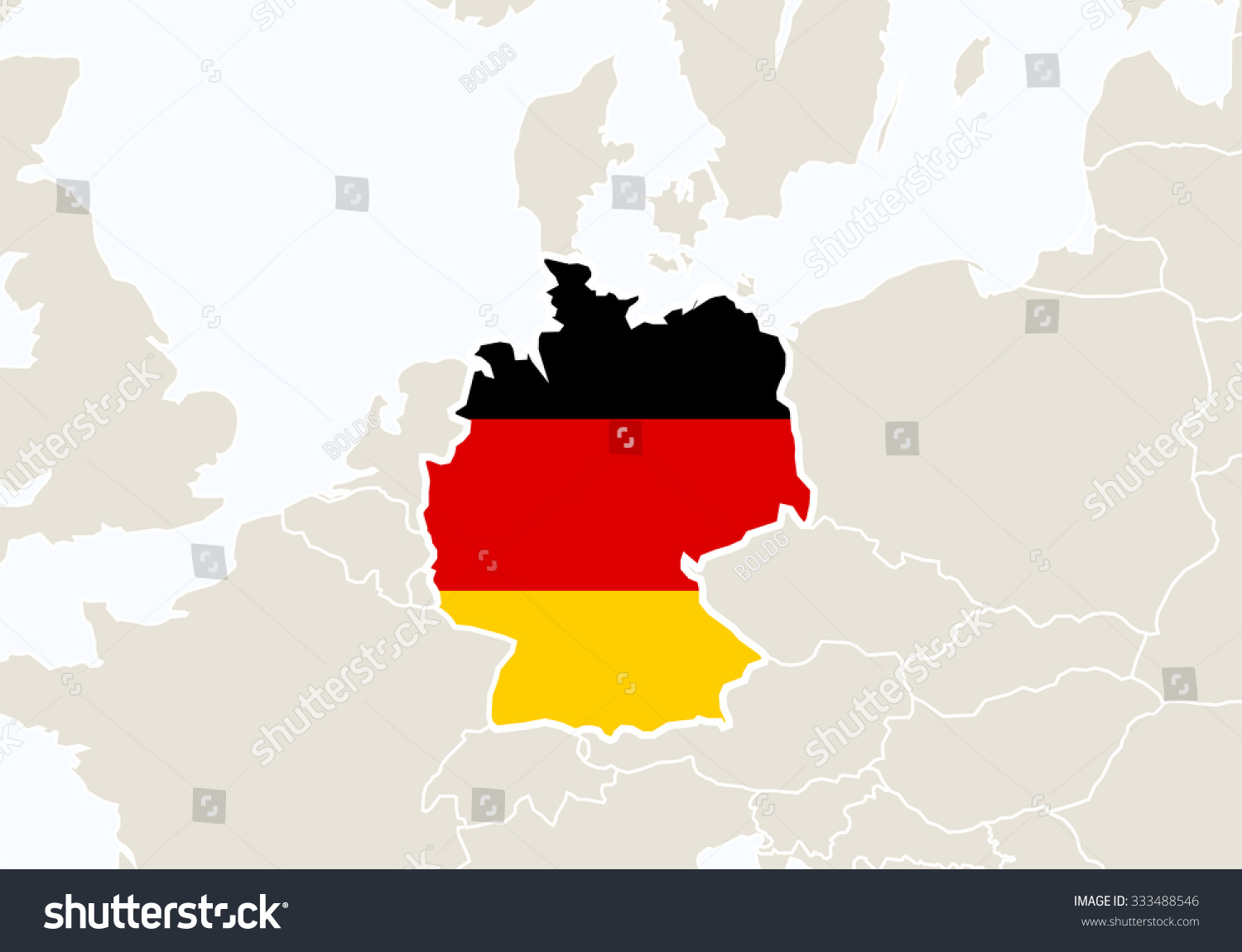 Europe Highlighted Germany Map Vector Illustration Stock Vector