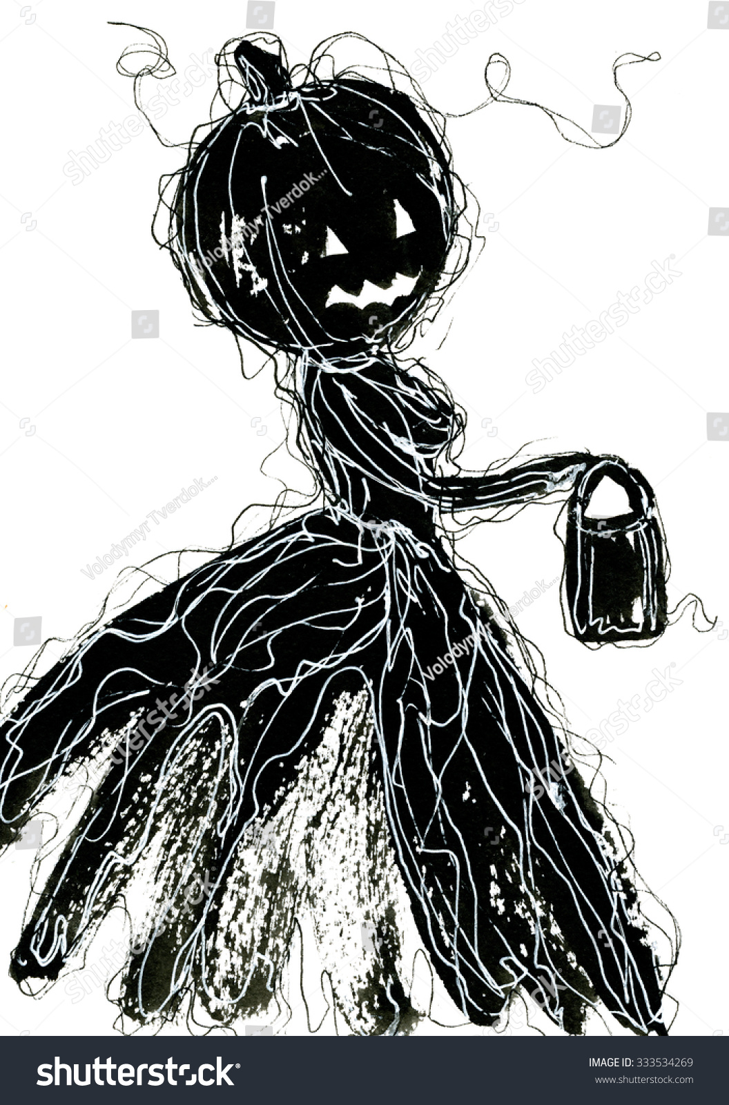Art freehand pencil sketch outline illustration of one black color as halloween holiday symbol with scary