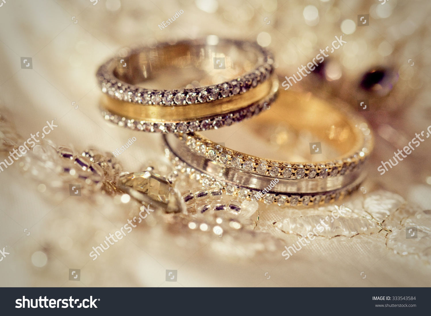 Beautiful Gold Background Wedding Rings Stars Stock Photo ...