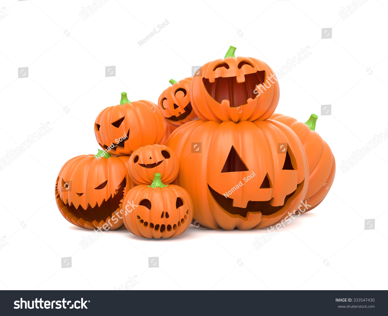 pile funny halloween pumpkins on white stock illustration 333547430