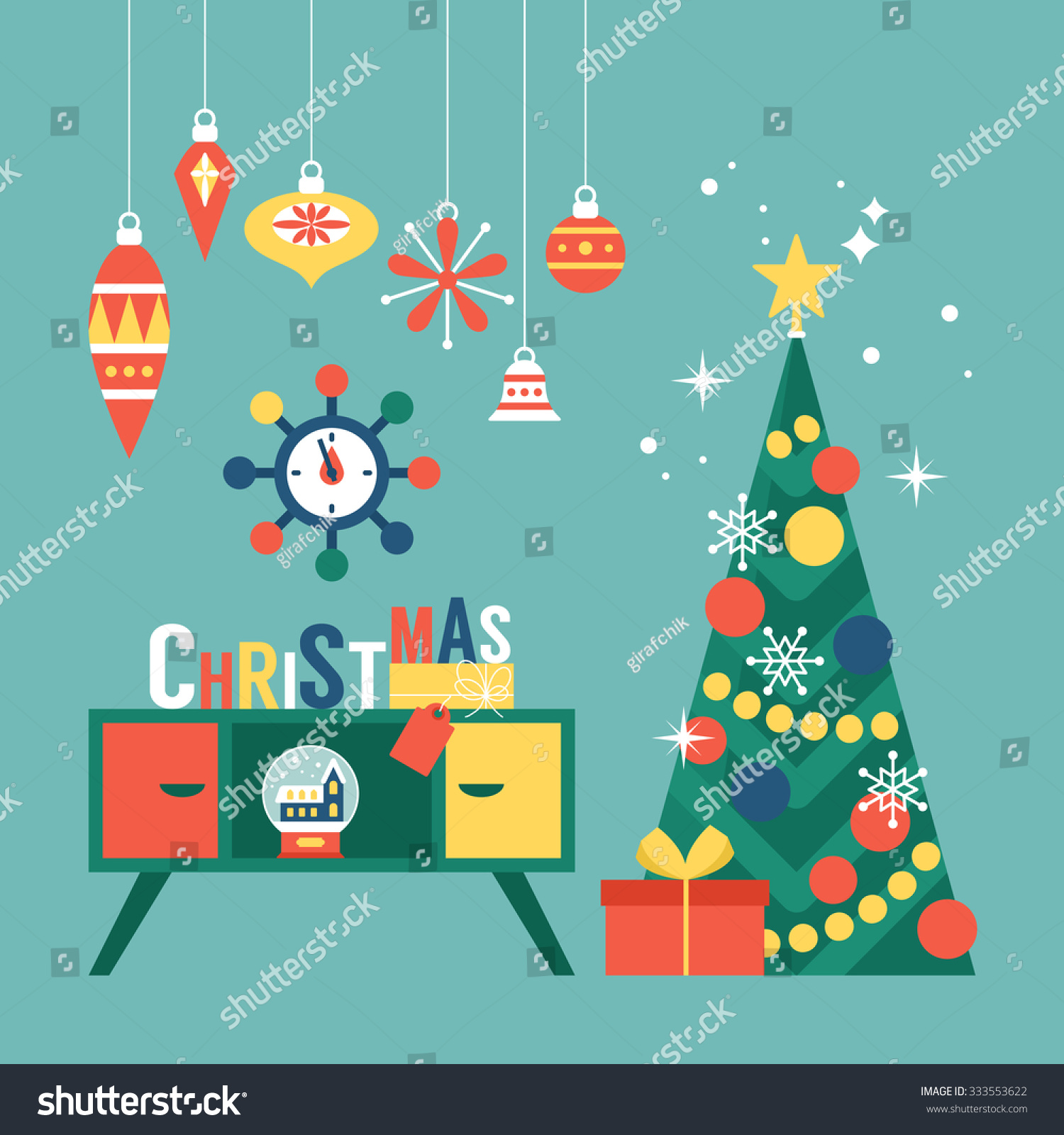 modern creative christmas greeting card design with christmas tree and mid century furniture vector illustration