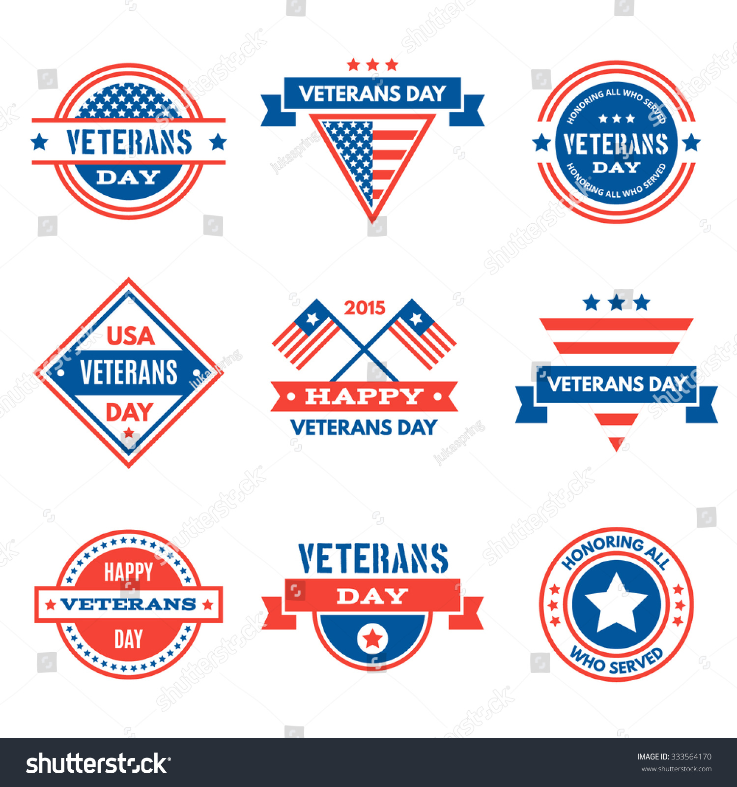 Set various veterans day graphics objects stock vector 333564170 set of various veterans day graphics objects and labels emblems symbols icons biocorpaavc