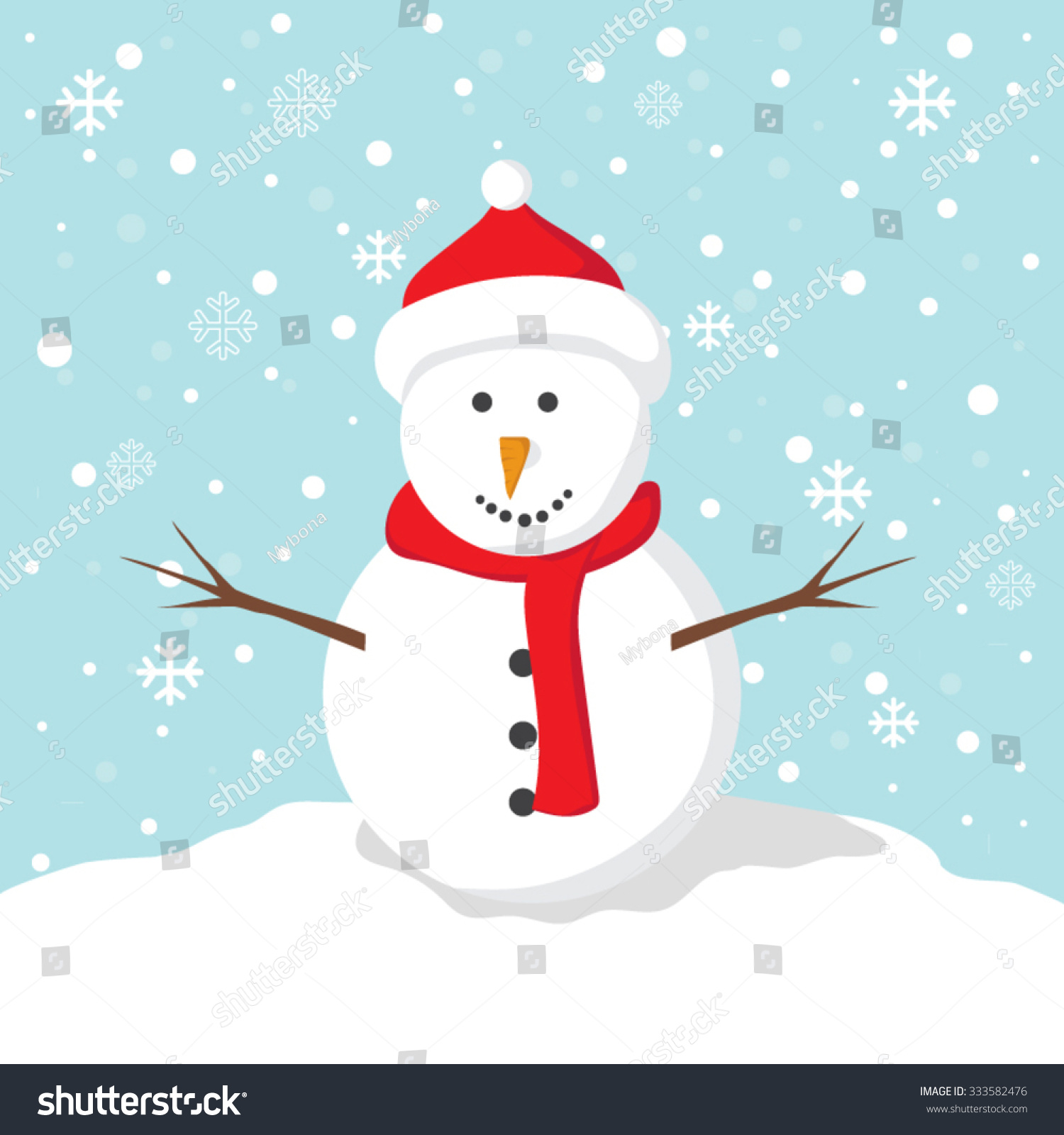 Cartoon Clip Art Snowman Red Hat Stock Vector 333582476 - Shutterstock