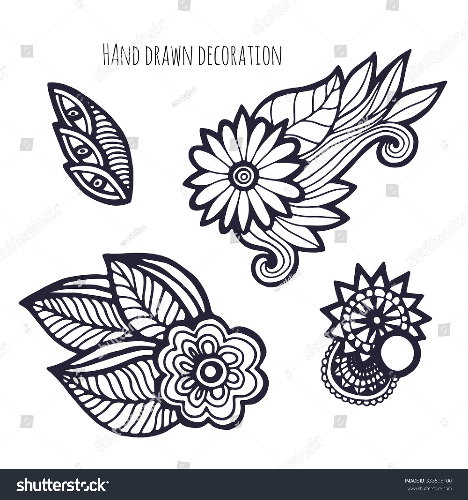 Hand Drawn Flowers Coloring Page Decoration Vector Set With Whimsical