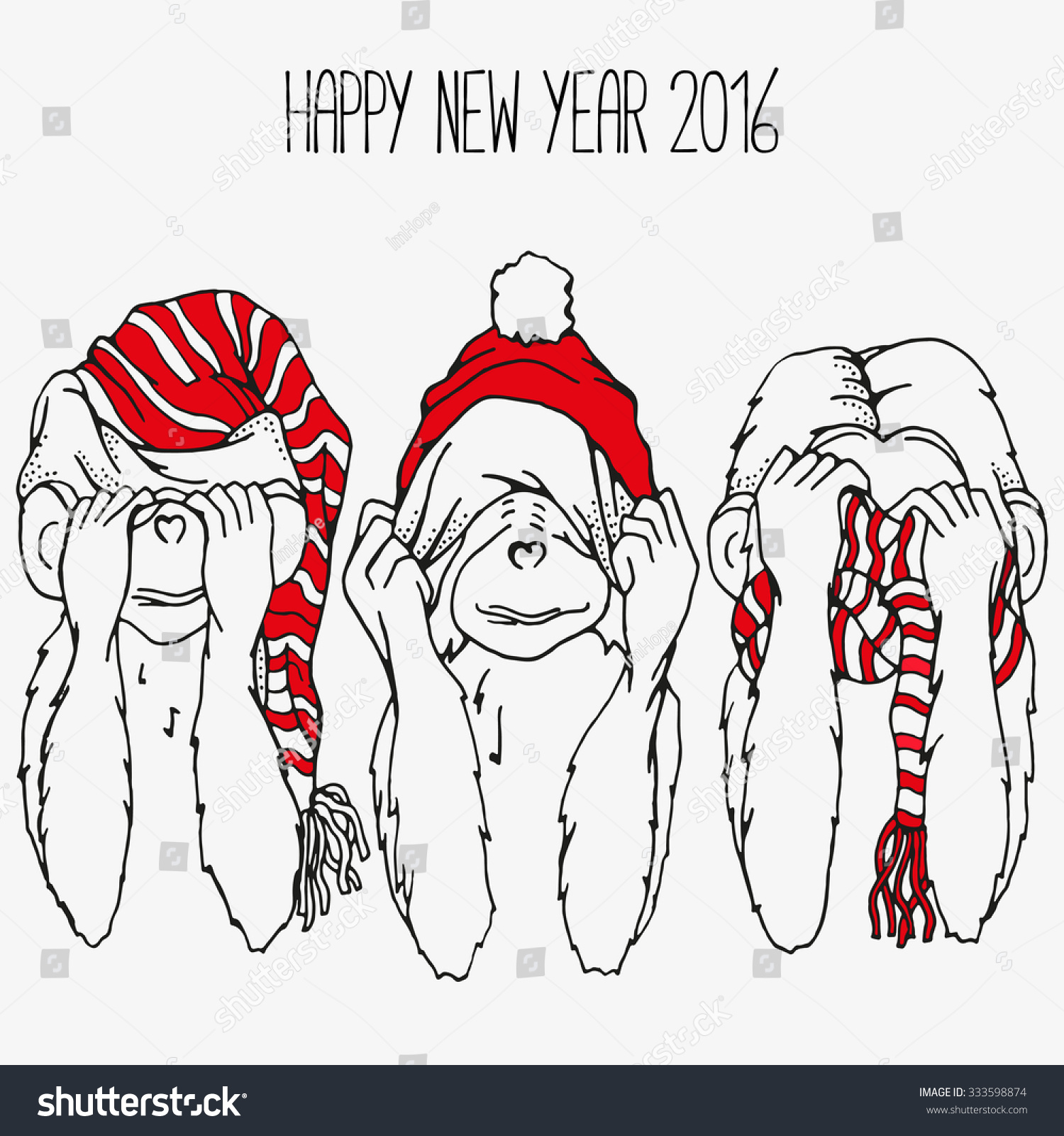 Three Monkeys Do Not See Not Stock Vector 333598874 Shutterstock