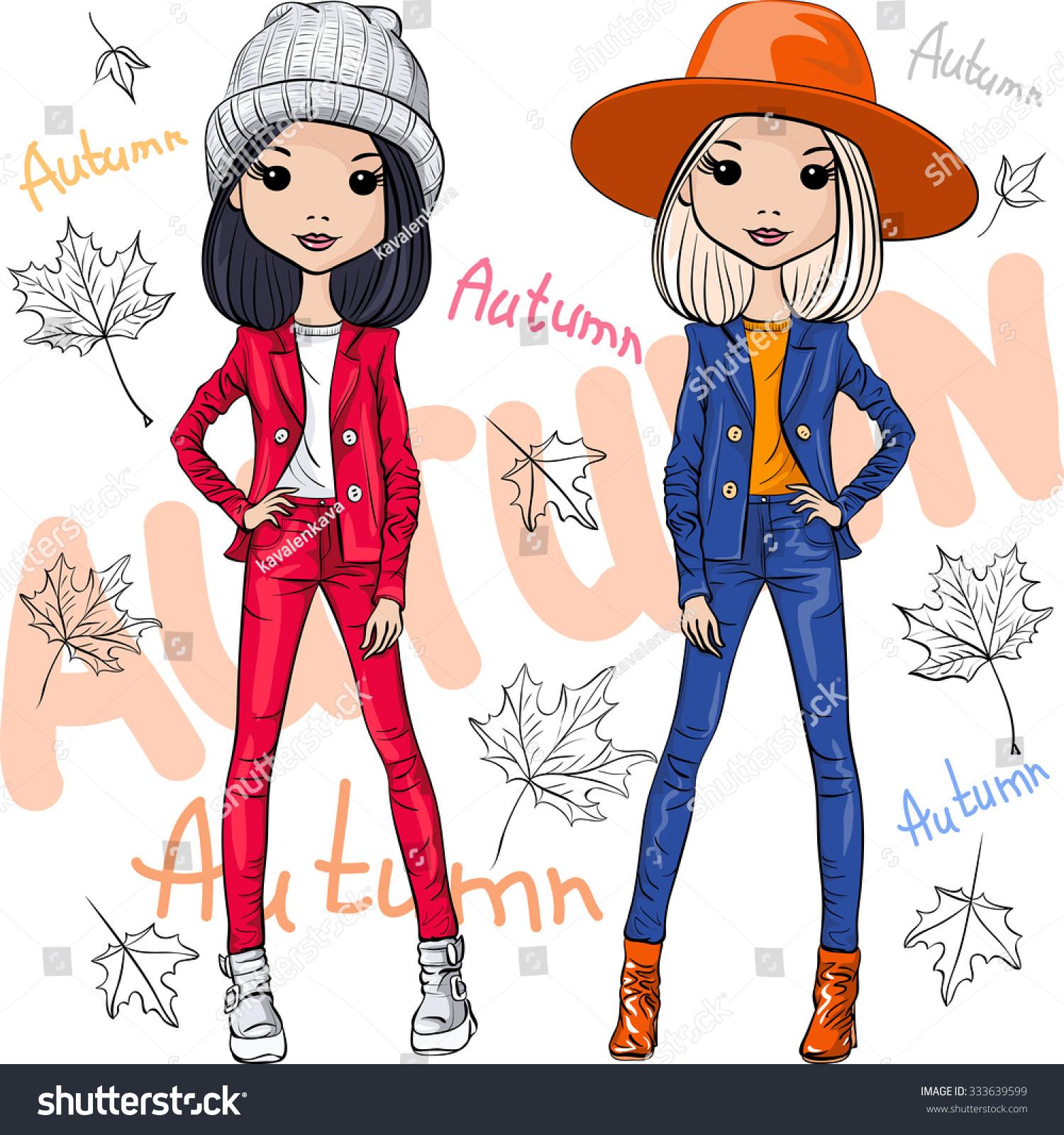 Fashion Cartoon Little Girl And Boy