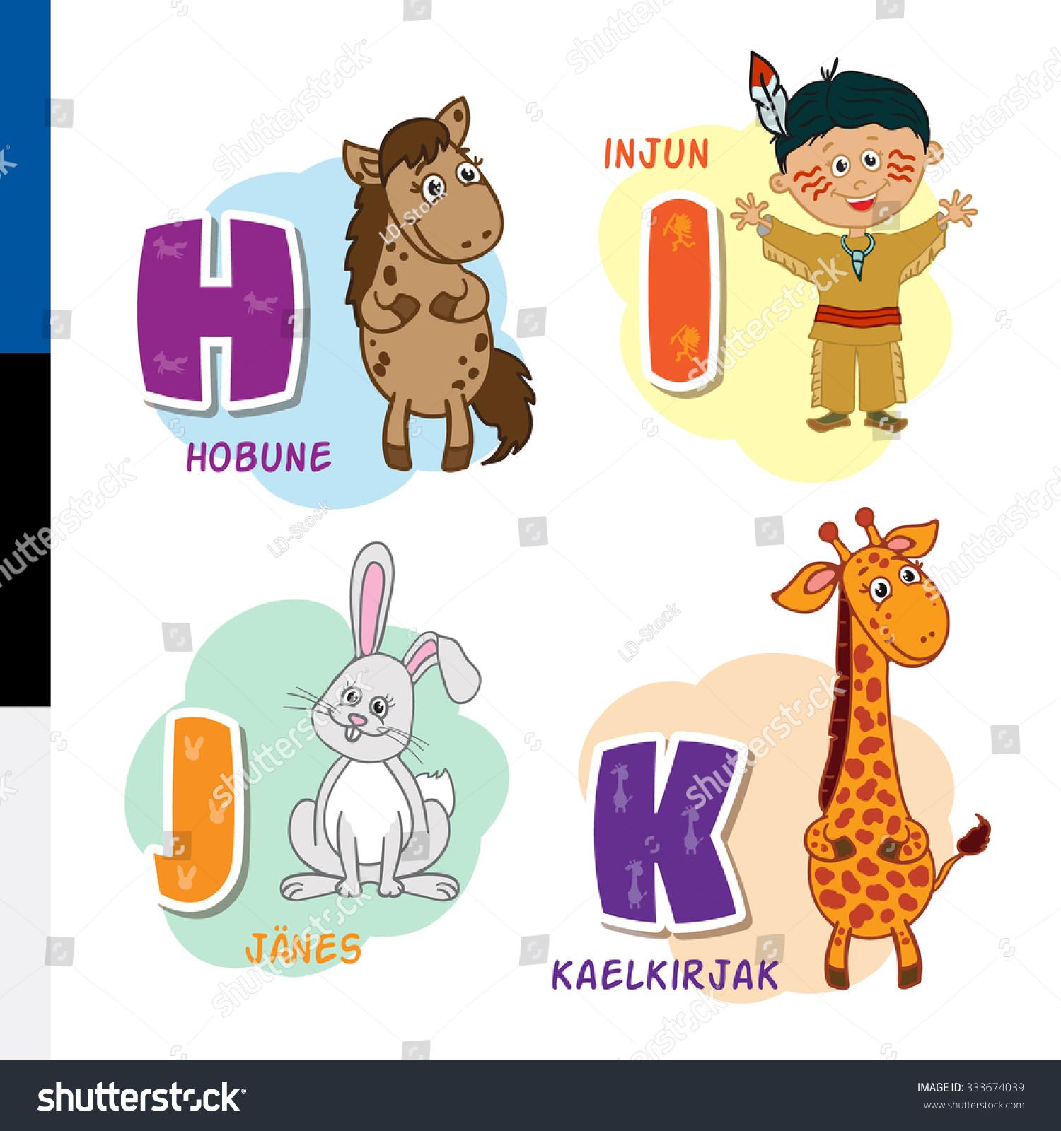 Estonian Alphabet Horse Native American Rabbit Stock Vector Royalty