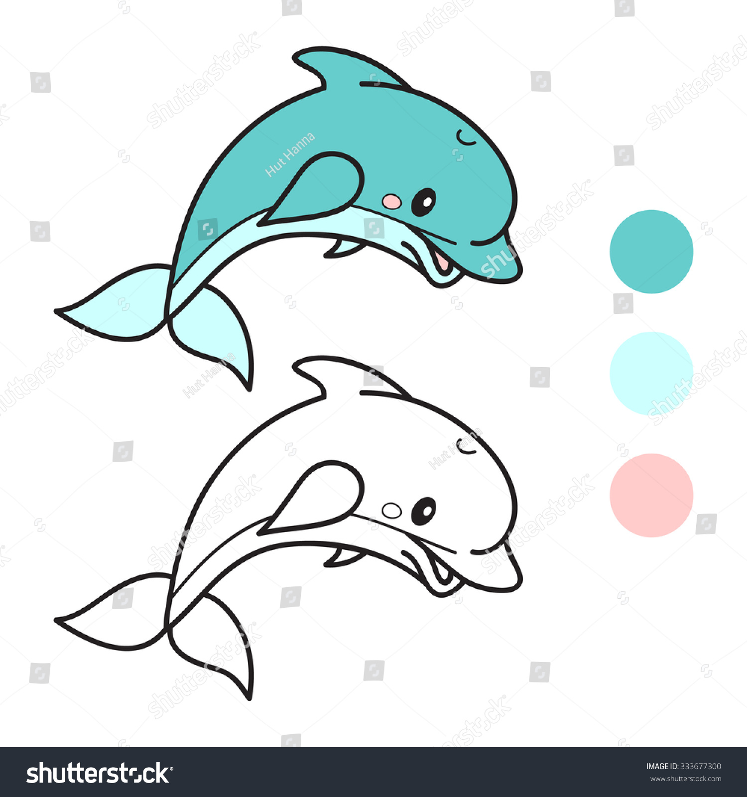 Dolphin Coloring Book Page Cartoon Vector Stock Vector (Royalty Free ...